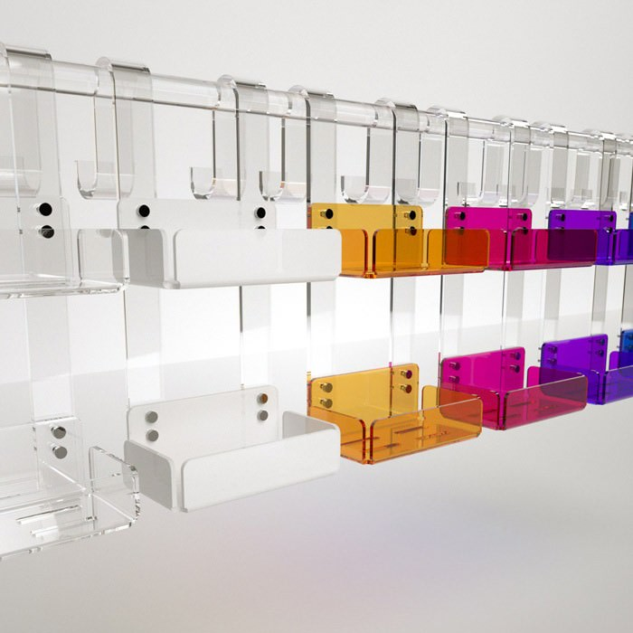 Mensola doppia per box doccia in plexiglass colorato - Mensola porta piatti ...