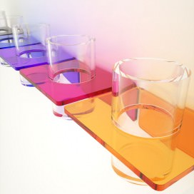 Glass holder for toothpaste and toothbrush | Plexiglass | 7 colors available