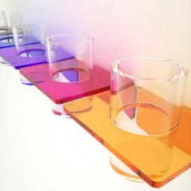 Porta bicchiere per dentifricio e spazzolino in Plexiglass colorato