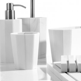 Complete bathroom set with: soap dispenser | glass | soap dish | toilet-brush holder | tray | pot
