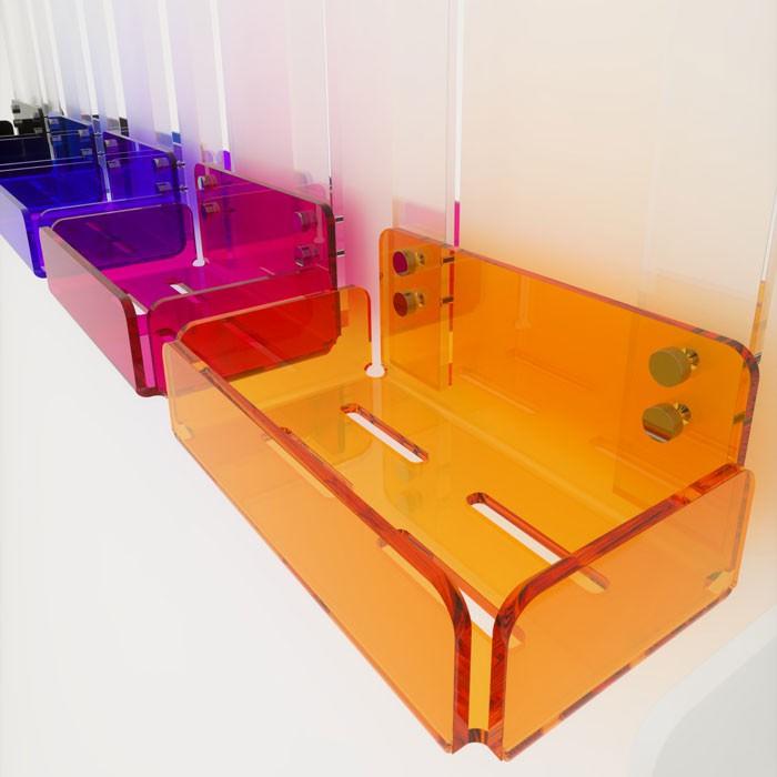 Mensola singola per doccia in plexiglass colorato 100 - Accessori bagno plexiglass ...