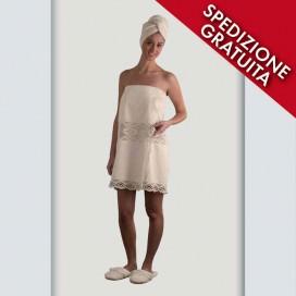 Completo pareo, turbante e pantofole da donna in spugna con inserti di pizzo | Puro cotone | Gesso