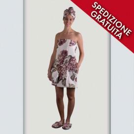 Completo pareo, turbante e pantofole donna in spugna cimata con stampa floreale | Puro cotone | Rosa Antico
