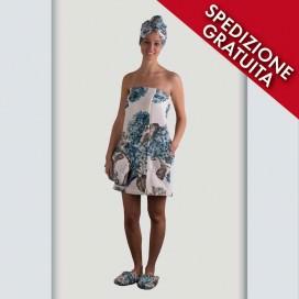 Pareo, Turbante e Pantofole donna in spugna cimata di puro cotone | stampa multicolor floreale con ortensie petrolio