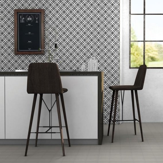 """Ornament Tile Colibrì with floreal motif type """"B6"""". Available in 3 different colours."""