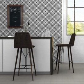 "Ornament Tile Colibrì with floreal motif type ""B6"". Available in 3 different colours."