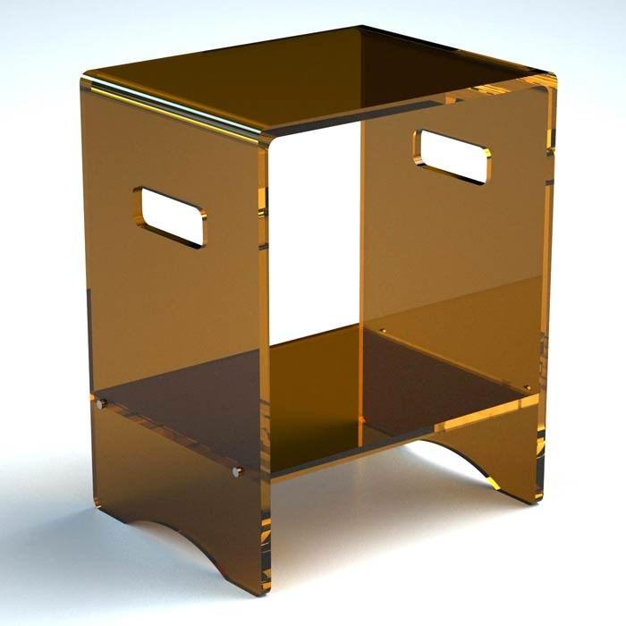 Sgabello con ripiano in plexiglass 10 colori serie comodo for Sgabello plexiglass doccia
