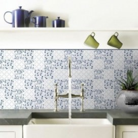 "Ornament Tile Colibrì with floral motif type ""B6"". Available in 3 different colours."