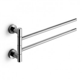 Double wall jointed towel holder | Chromed Brass | Baketo collection