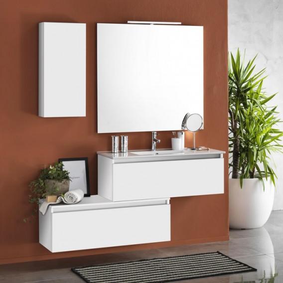 Mobile bagno 100 cm | Composizione Ibiza 16 | Laccato bianco opaco | Rubinetteria esclusa