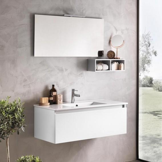 Mobile bagno 100 cm | Ibiza 14 | Bianco | Grigio | Opaco