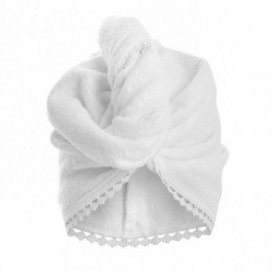 Woman's Turban in sponge made of pure cotton Made in Italy, with precious lace inserts | Color White