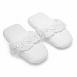 Slippers in sponge made of pure cotton Made in Italy, with precious lace inserts | Color White