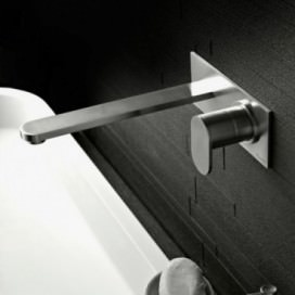 Mixer tap for sink on wall made with stainless steel to be combined with a recess body. | Opening 180 mm