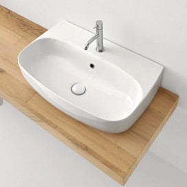 Lavabo da appoggio o sospeso monoforo 70 cm | NoLIta | Kerasan