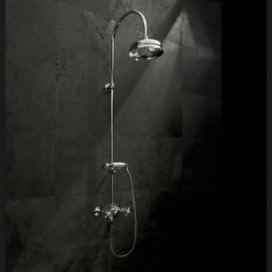 Gruppo doccia esterno con soffione e doccetta | H 1200 cm | Cromato