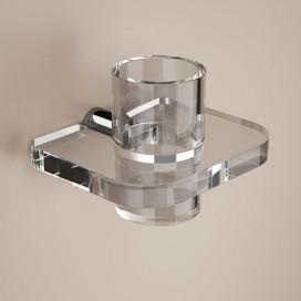Porta bicchiere da parete | Ottone cromato e plexiglass | Lady | Petrozzi
