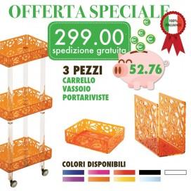 """Offerta """"TUTTO IN ORDINE""""  1 Carrello 1 Vassoio 1 Portariviste   Petrozzi"""