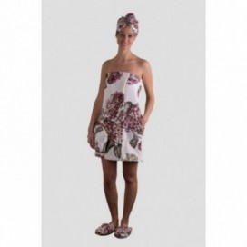 Pareo da donna in spugna cimata con stampa floreale | Puro cotone | Rosa Antico