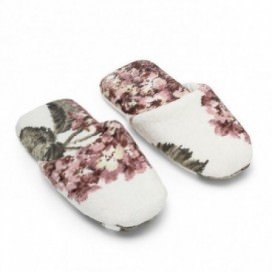Slippers in sponge made of pure cotton Made in Italy, with multicolored floral print with hydrangea | Color Pink