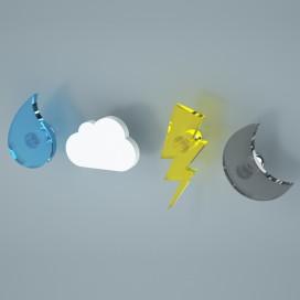 Appendiabiti Goccia Nuvola Tuono Luna | Plexiglass colorato | Petrozzi