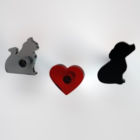 Appendiabiti Gatto Cuore Lilli | Plexiglass colorato | Petrozzi