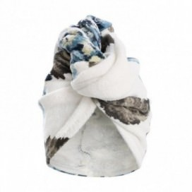 Woman's turban in sponge with multicolored floral print with hydrangea | Color Petroleum
