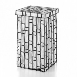 Raccogli biancheria quadrato in metallo verniciato in 2 diversi motivi e cesto in cotone