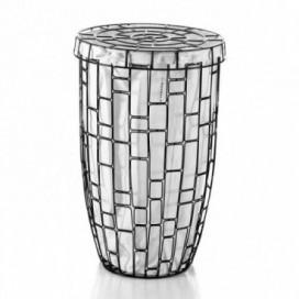 Raccogli biancheria tondo in metallo verniciato in 2 motivi cesto in cotone | Ø 430mm