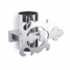Porta spazzolino con decoro a foglia completo di bicchiere | Acciaio cromato | Disponibili 2 varianti