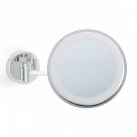 Magnifying mirror wall mounted in chrome with 3x zoom and LED light