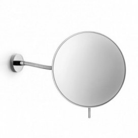 Small magnifying mirror wall mounted movable in chromed brass