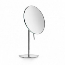 Chromed brass standing magnifying mirror