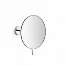 Large wall-mounted magnifying mirror in chromed brass