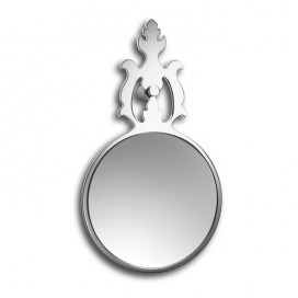 Magnifying mirror with leaf decoration with wall mounting kit included | Chromed steel