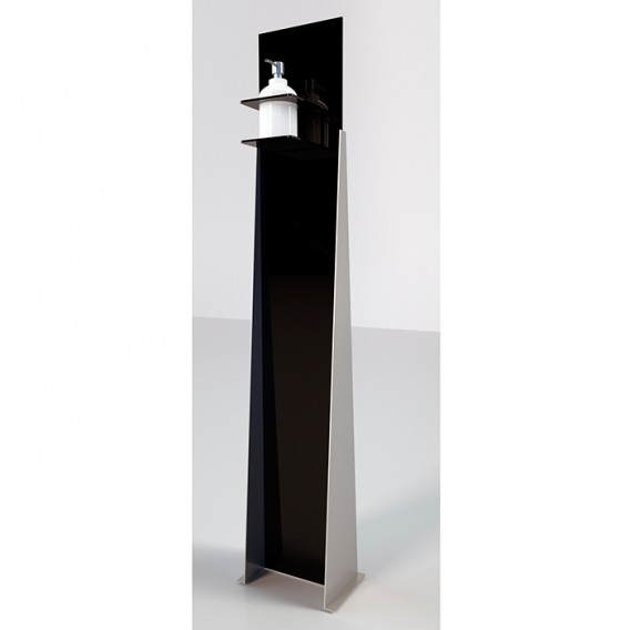 Piantana porta gel igienizzante | Freccia | Acciaio e Plexiglass