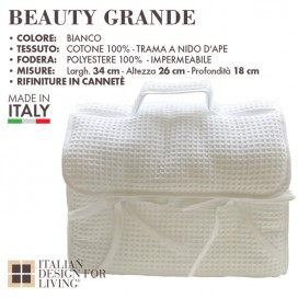 Beauty bag in cotton and linen honeycomb with a waterproof inner lining | Available in white and stone