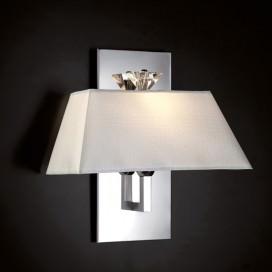 Applique in ottone cromato con paralume in tessuto Dedar stampa coccodrillo con attacco E27 | Max 60W