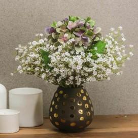 Composizione composta da Vaso con Pois dorati, Ortensia e Fiore Bianco artificiale | POLKADOT BLOSSOM