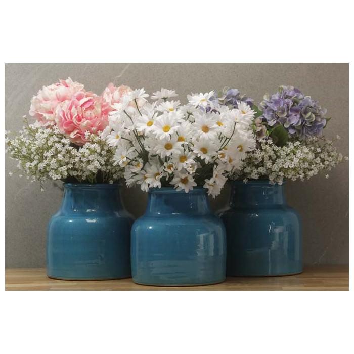Vaso fenice bombato in ceramica con collo di colore blu for Vaso blu