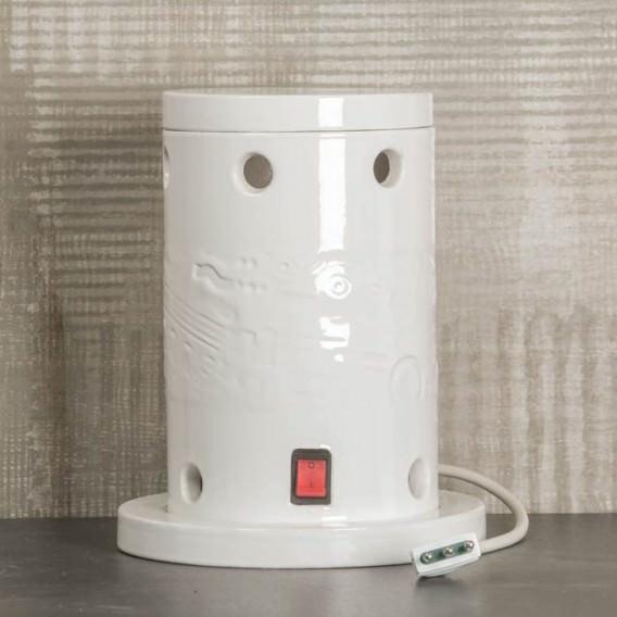 Stufa elettica da bagno in ceramica smaltata pot. 1000 W con ventola per erogazione aria calda | Disponibile in bianco e rosso.