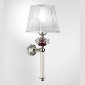 Applique in ottone cromato con fiore di cristallo e paralume in tessuto. H 35 cm | Prof. 17 cm | D 16 cm Att. E14 | Max 40W