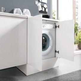 Lavatoio sospeso in Mineralmarmo con angoli arrotondati abbinabile a modulo porta lavatrice con zoccolo a terra