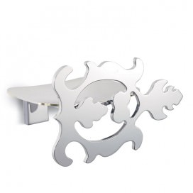 Soap holder with leaf decoration | Chromed steel | 2 variants available