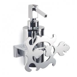 Dispenser holder with leaf decoration | Chromed steel | 2 variants available