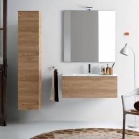 Mobile bagno composto da: mobile base e colonna rovere dogato miele | Top mineralmarmo bianco lucido con lavabo integrato