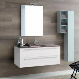 Mobile bagno composto da: base rovere bianco con colonna | Top cristallo lucido titanio con lavabo integrato