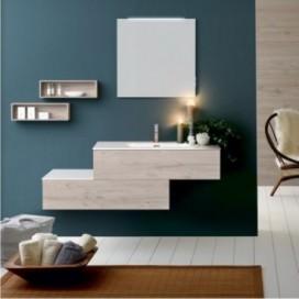Mobile bagno composto da base con pensile rovere chiaro | Top consolle e Top mineralmarmo bianco lucido con lavabo integrato