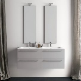 Mobile bagno composto da base laccato grigio perla | Top consolle ceramica slim con lavabo doppia vasca