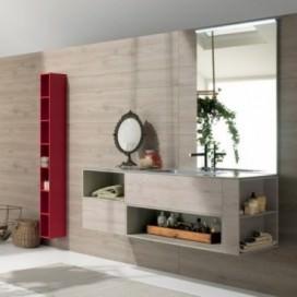 Mobile bagno composto da: mobile base rovere chiaro | Base cemento beige | Top mineralmarmo grigio lucido con lavabo integrato